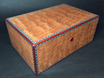 Quilted Cherry Humidor with Bloodwood & Marquetry trim
